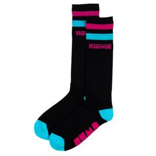 16'' Mid Calf Rookie x BUMP Rollerdisco Socks - Black/Pink